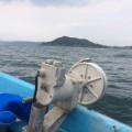 御座白浜沖での、タコ獲り漁業の様子